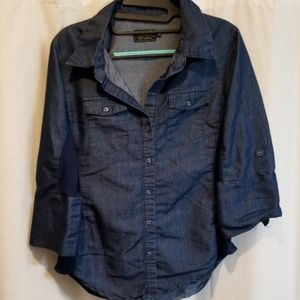 Petite cavalini denim shirt with stretchy insert